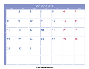 2018 january calendar with week numbers