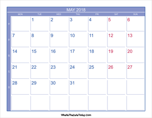 2018 may calendar with week numbers