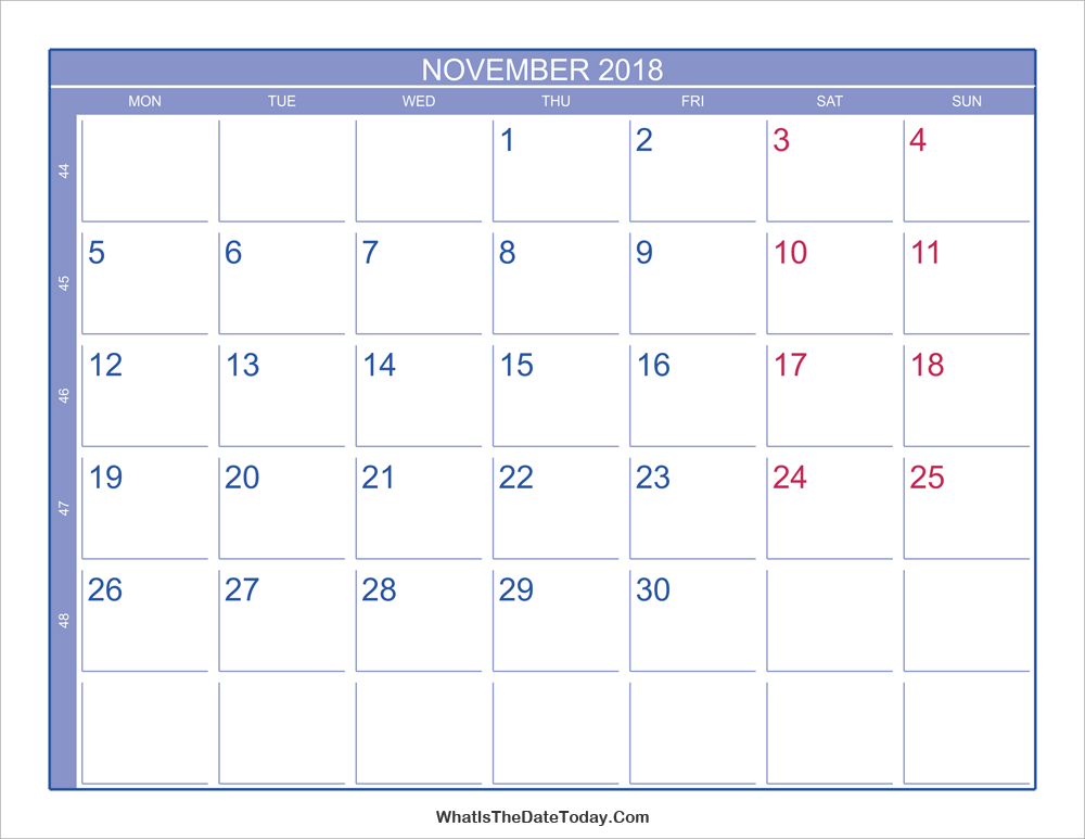 2018 november calendar with week numbers