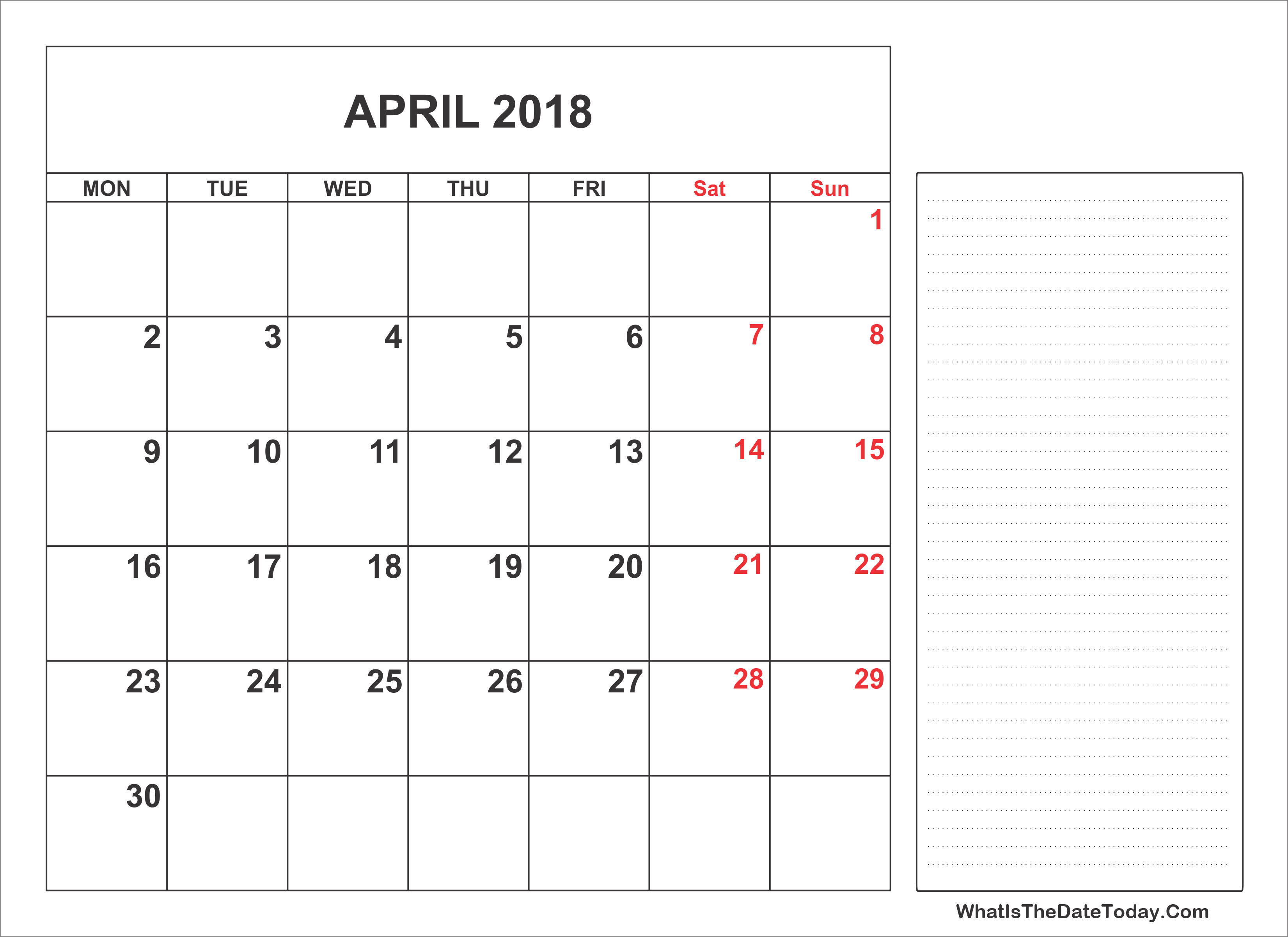 April Calendar With Notes : Printable april calendar with notes