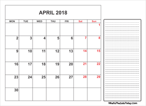 2018 printable april calendar with notes