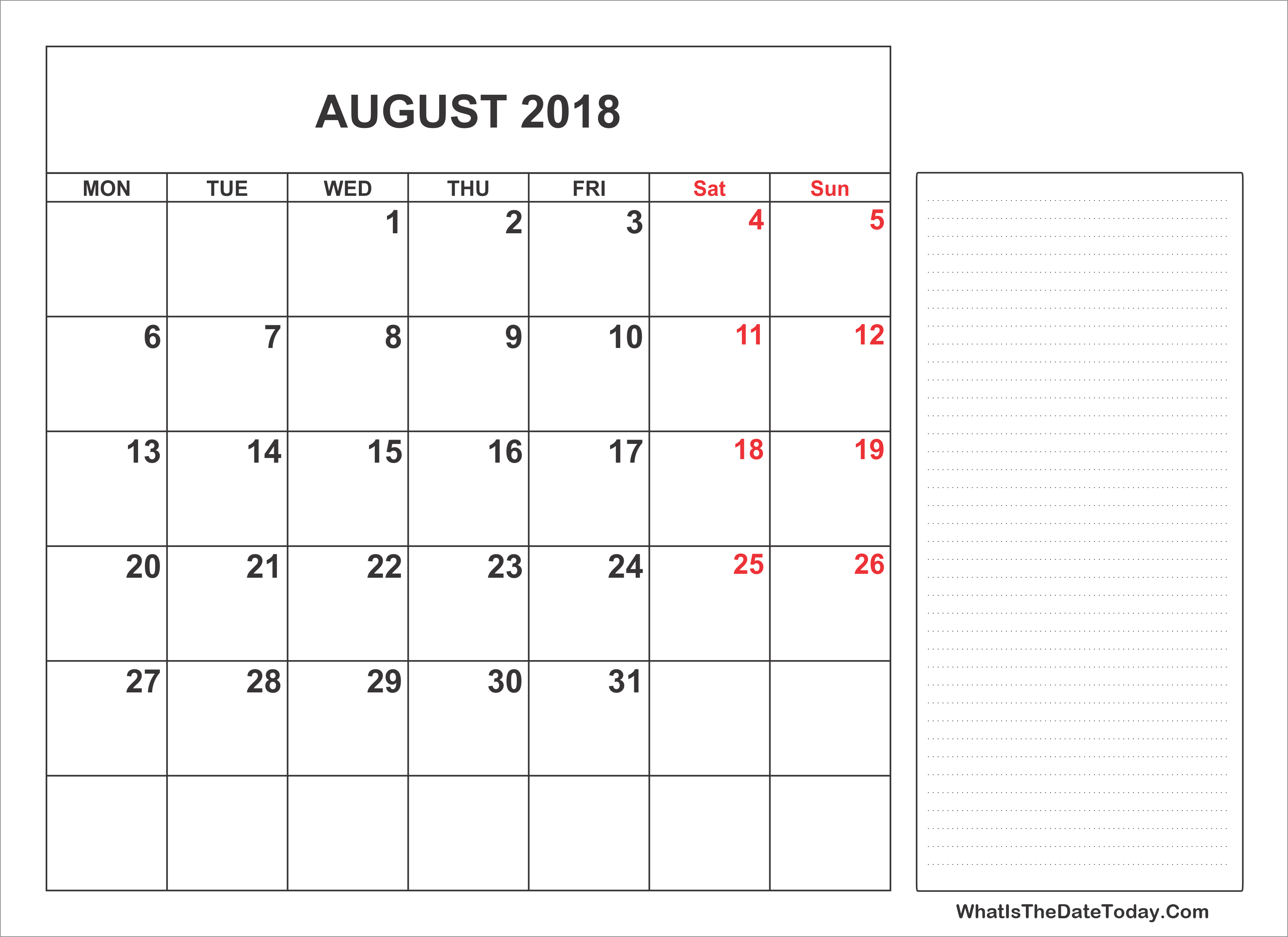 2018 Printable August Calendar with Notes