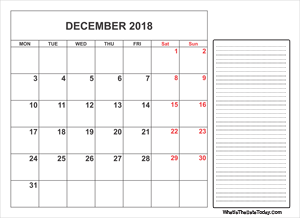 2018 printable december calendar with notes
