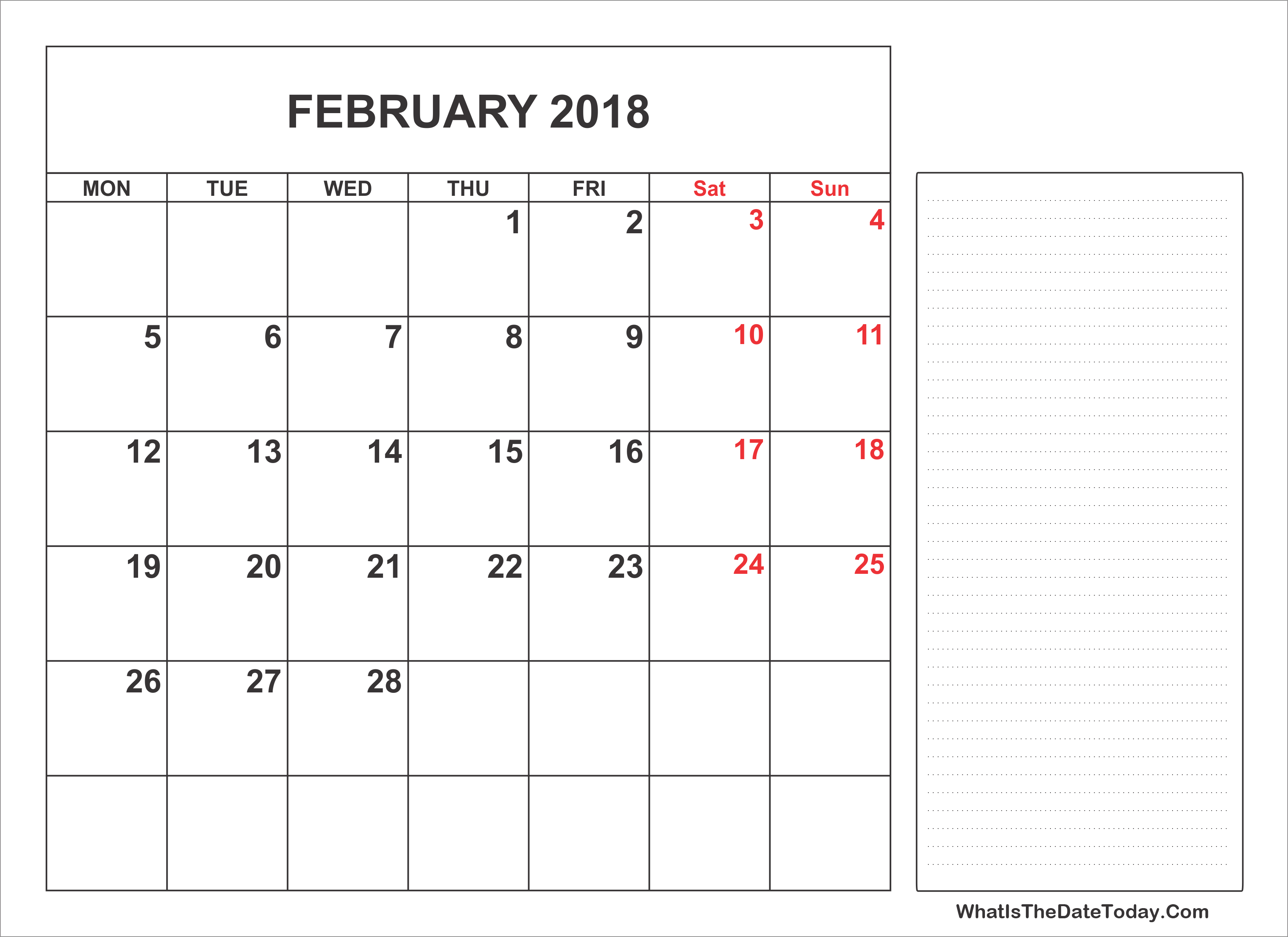Blank Calendar With Notes : Printable february calendar with notes