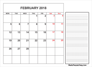 2018 printable february calendar with notes