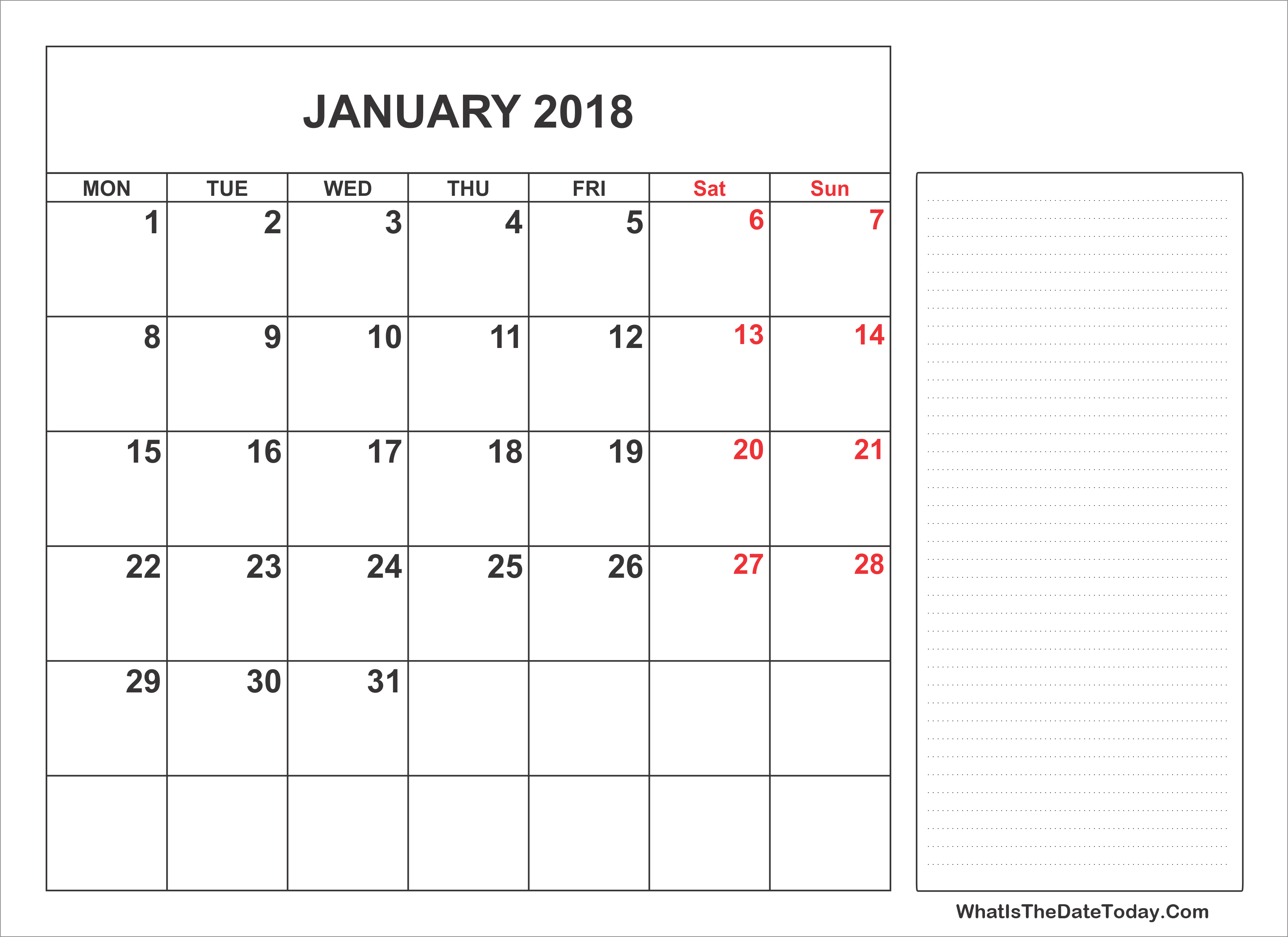 2018 Printable January Calendar With Notes Whatisthedatetoday Com