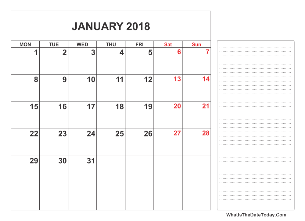 2018 printable january calendar with notes