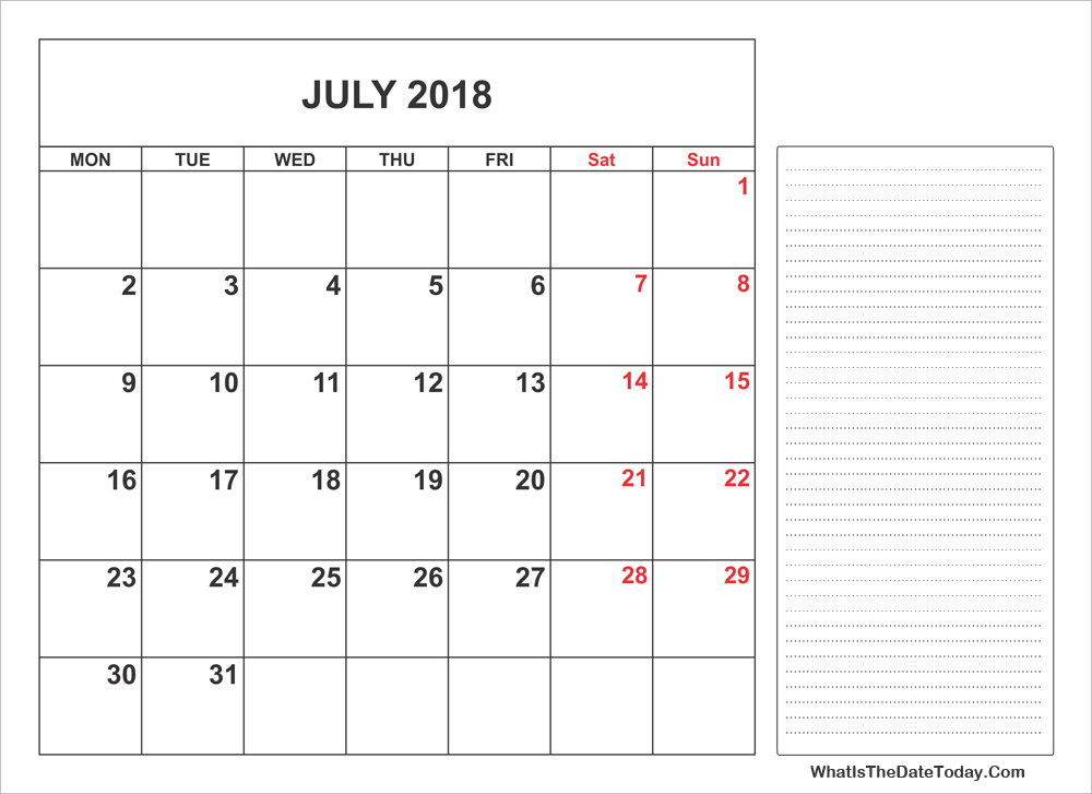2018 printable july calendar with notes