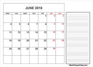 2018 printable june calendar with notes