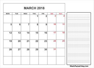 2018 printable march calendar with notes