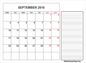 2018 printable september calendar with notes