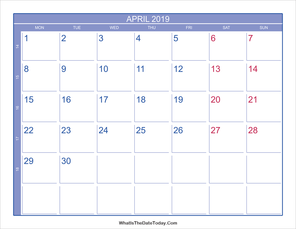 2019 april calendar with week numbers