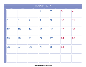 2019 august calendar with week numbers