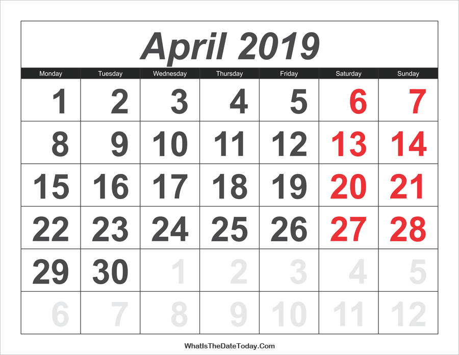 2019 calendar april with large numbers