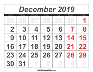 2019 calendar december with large numbers