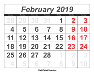 2019 calendar february with large numbers