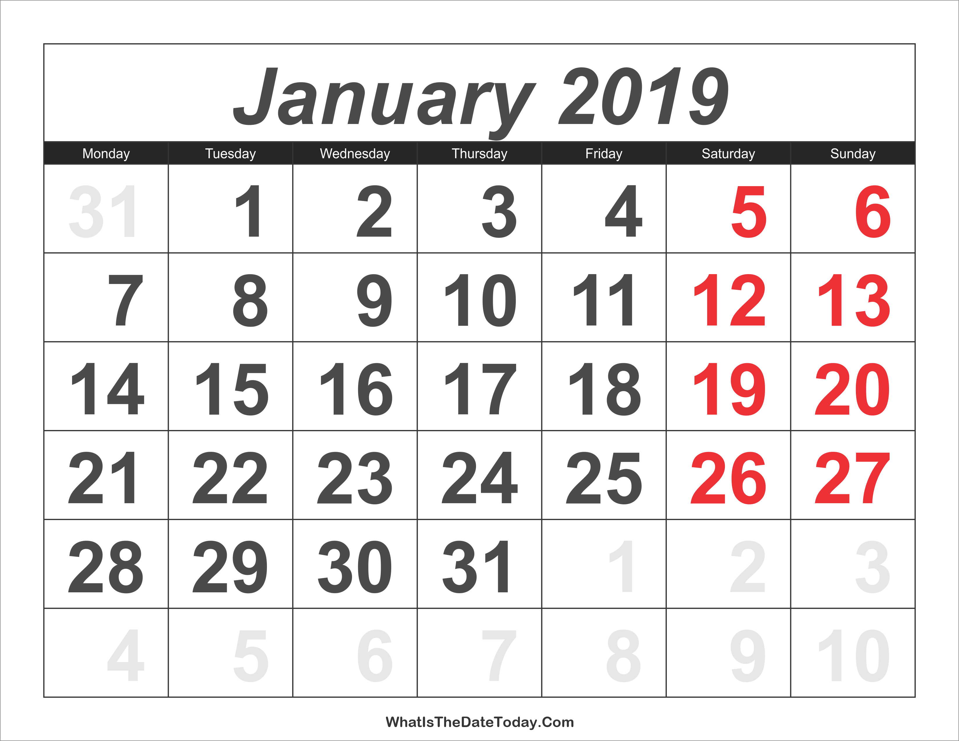 2019 Calendar January With Large Numbers Whatisthedatetoday Com