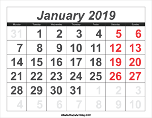 2019 calendar january with large numbers