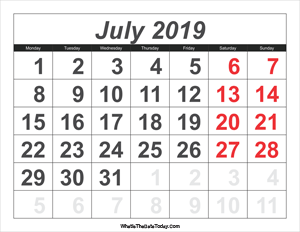 2019 calendar july with large numbers