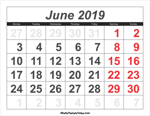 2019 calendar june with large numbers