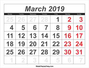 2019 calendar march with large numbers