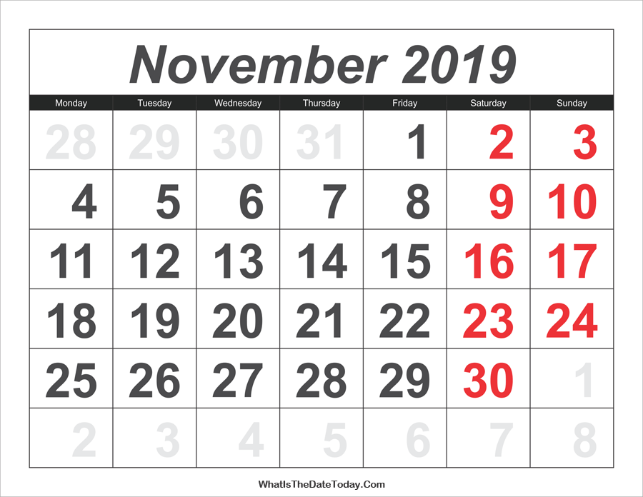 2019 calendar november with large numbers