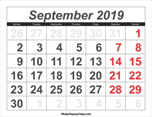 2019 calendar september with large numbers