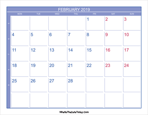 2019 february calendar with week numbers