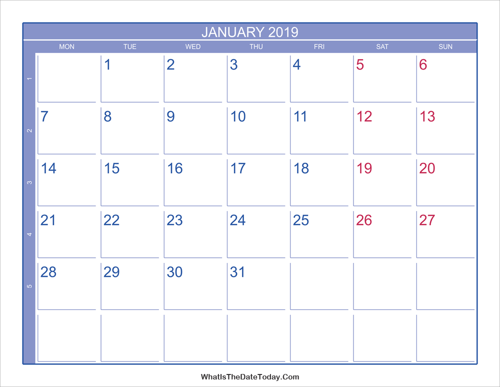 2019 january calendar with week numbers
