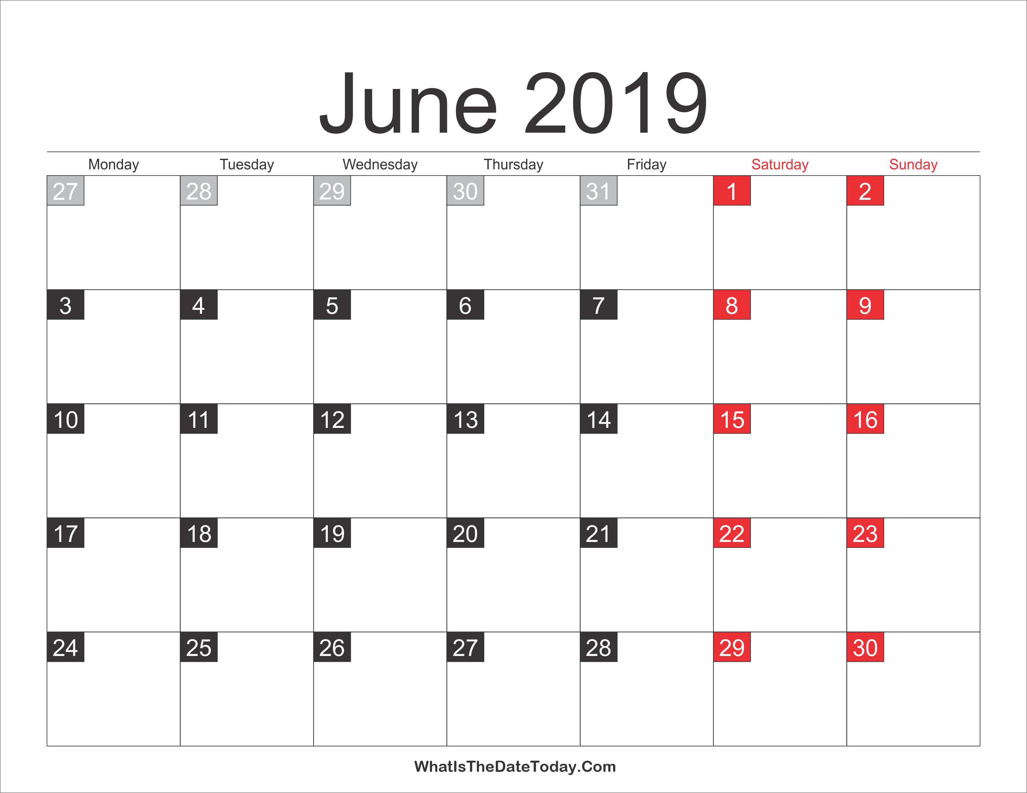 2019 June Calendar Printable | Whatisthedatetoday Com