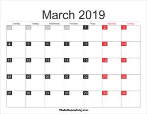 March 2019 Calendar Printable With Holidays Whatisthedatetoday Com