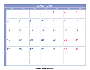 2019 march calendar with week numbers