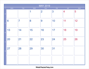 2019 may calendar with week numbers
