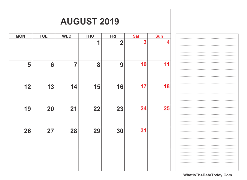 2019 printable august calendar with notes