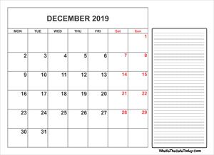 December 2019 Printable Calendar With Notes December 2019 Calendar Templates | Whatisthedatetoday.Com