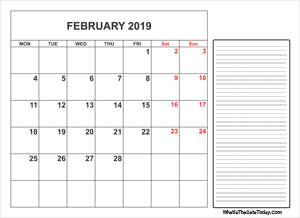 2019 printable february calendar with notes