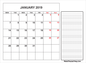 2019 printable january calendar with notes