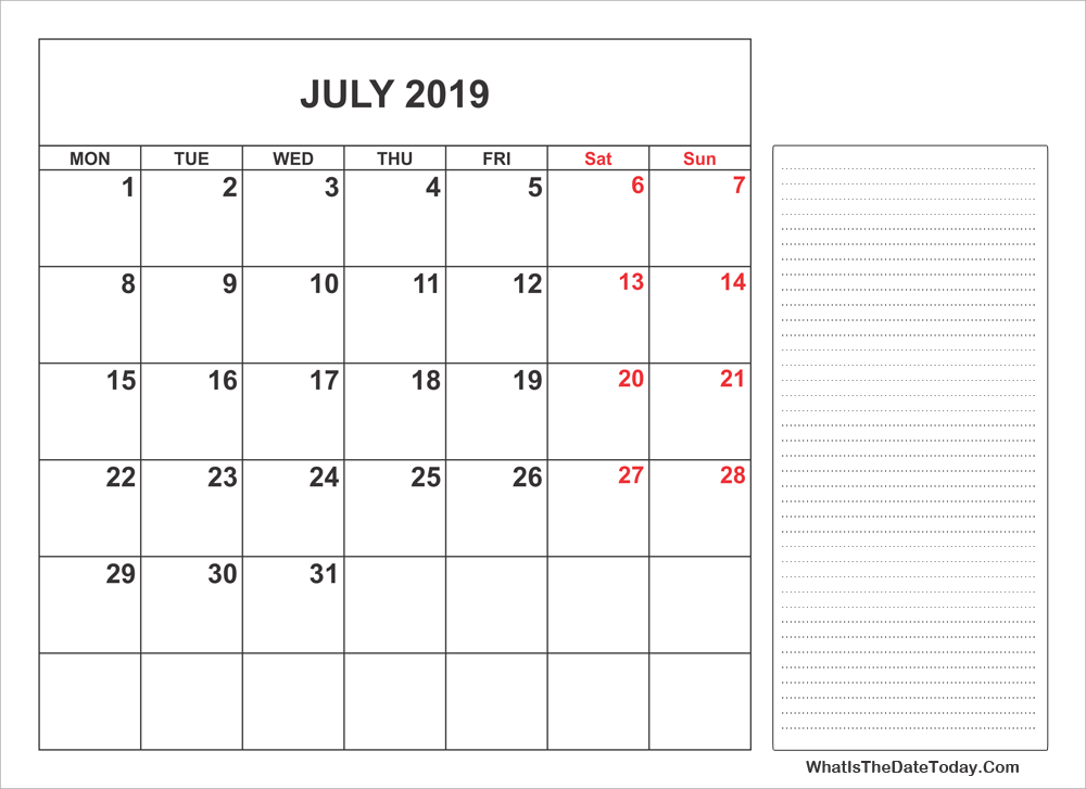 picture relating to Printable July Calendar identify 2019 Printable July Calendar with Notes Whatisthedatetoday.Com