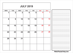2019 printable july calendar with notes
