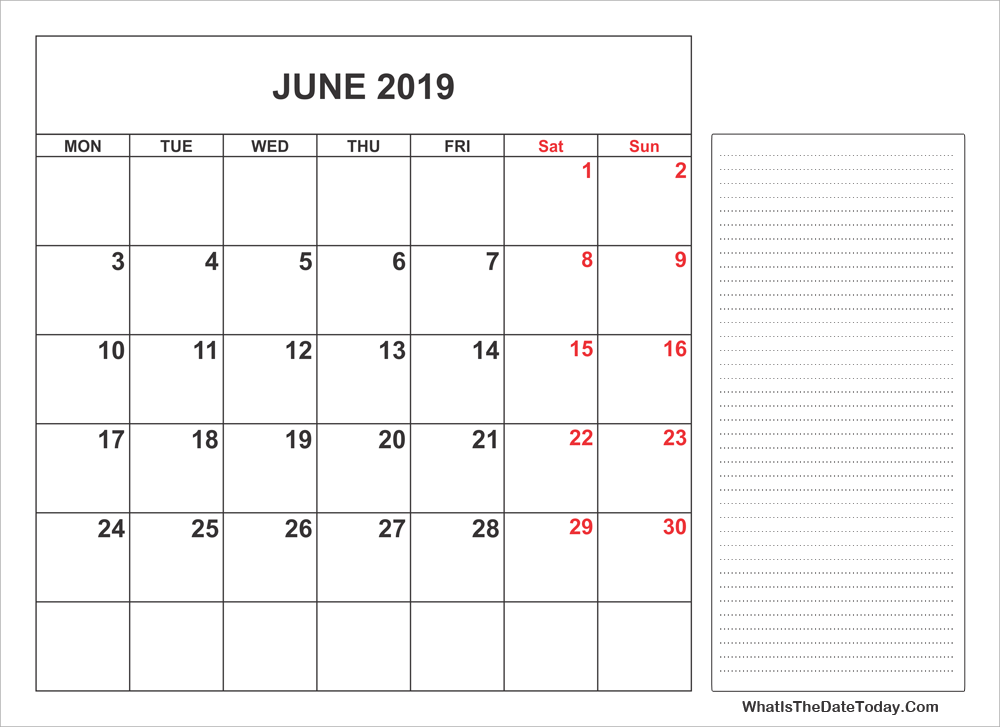 2019 printable june calendar with notes