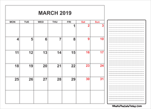 March 2019 Calendar Templates Whatisthedatetoday Com