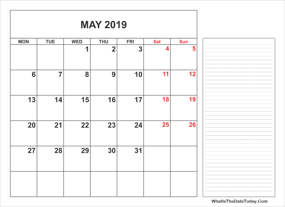 2019 printable may calendar with notes