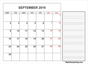 2019 printable september calendar with notes