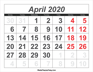 2020 calendar april with large numbers