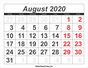 2020 calendar august with large numbers