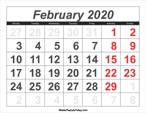 2020 calendar february with large numbers