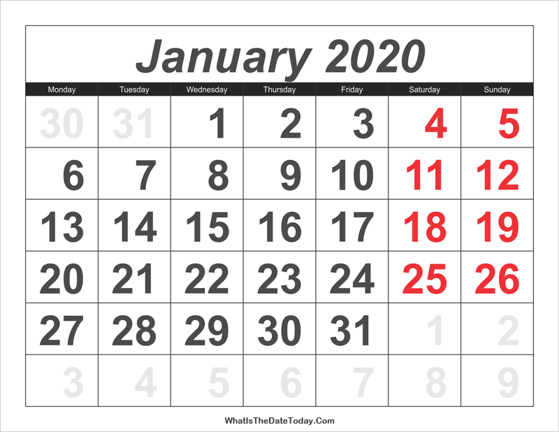 2020 calendar january with large numbers