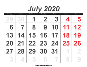 2020 calendar july with large numbers