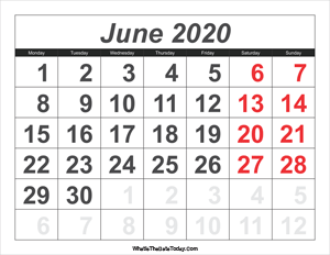 2020 calendar june with large numbers