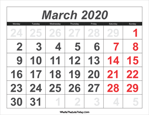 2020 calendar march with large numbers